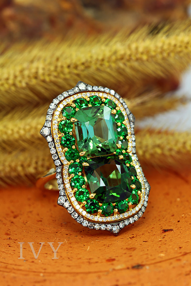 Tourmaline, Tsavorite and Diamond Ring