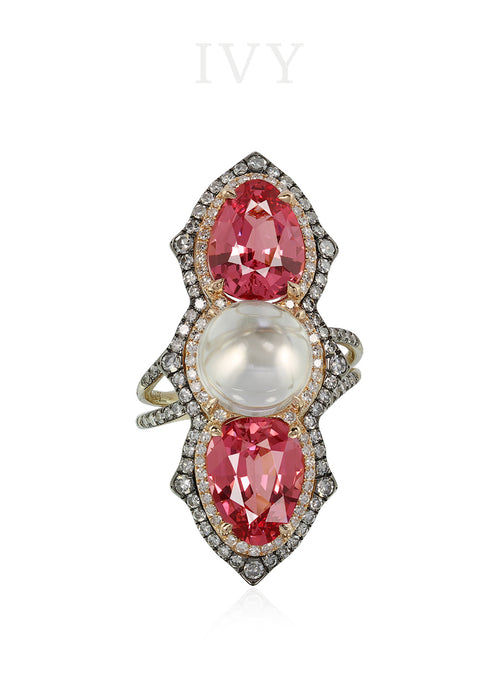 Pink Spinel, Moonstone and Diamond Ring
