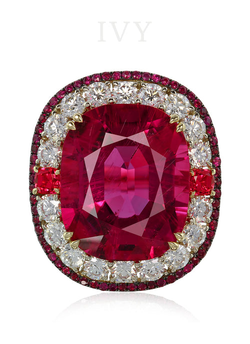 Rubellite Spinel and Diamond Ring