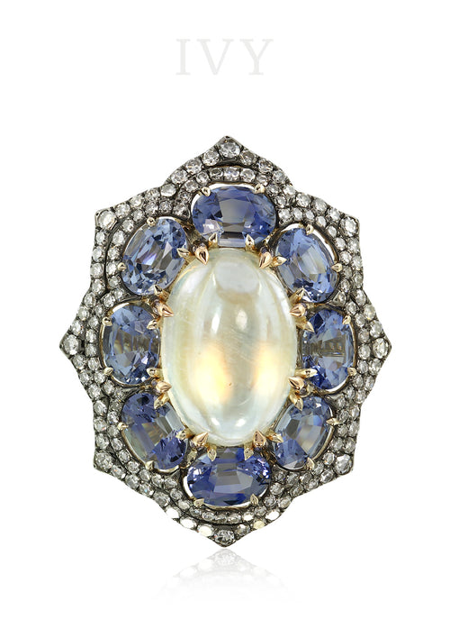 Moonstone Sapphire and Diamond Ring