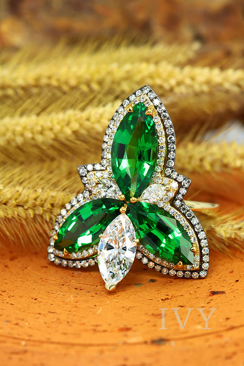 Tsavorite and Diamond Trinity Knot Ring