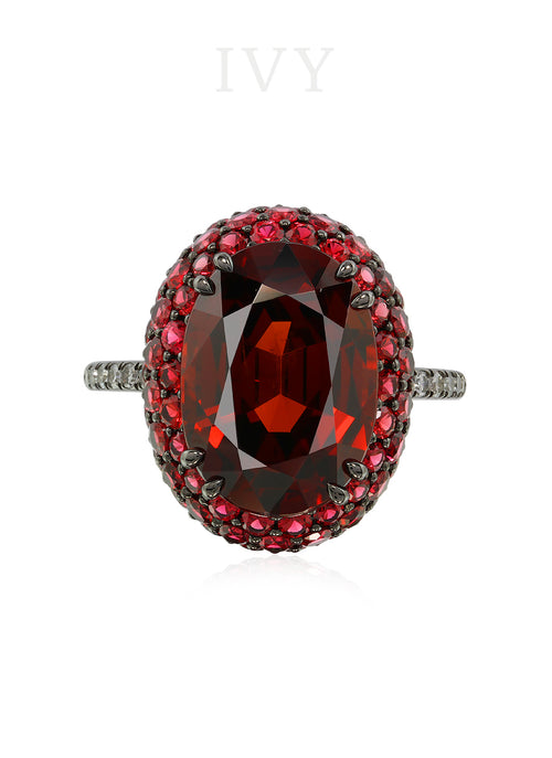 Spessartite Spinel and Diamond Ring
