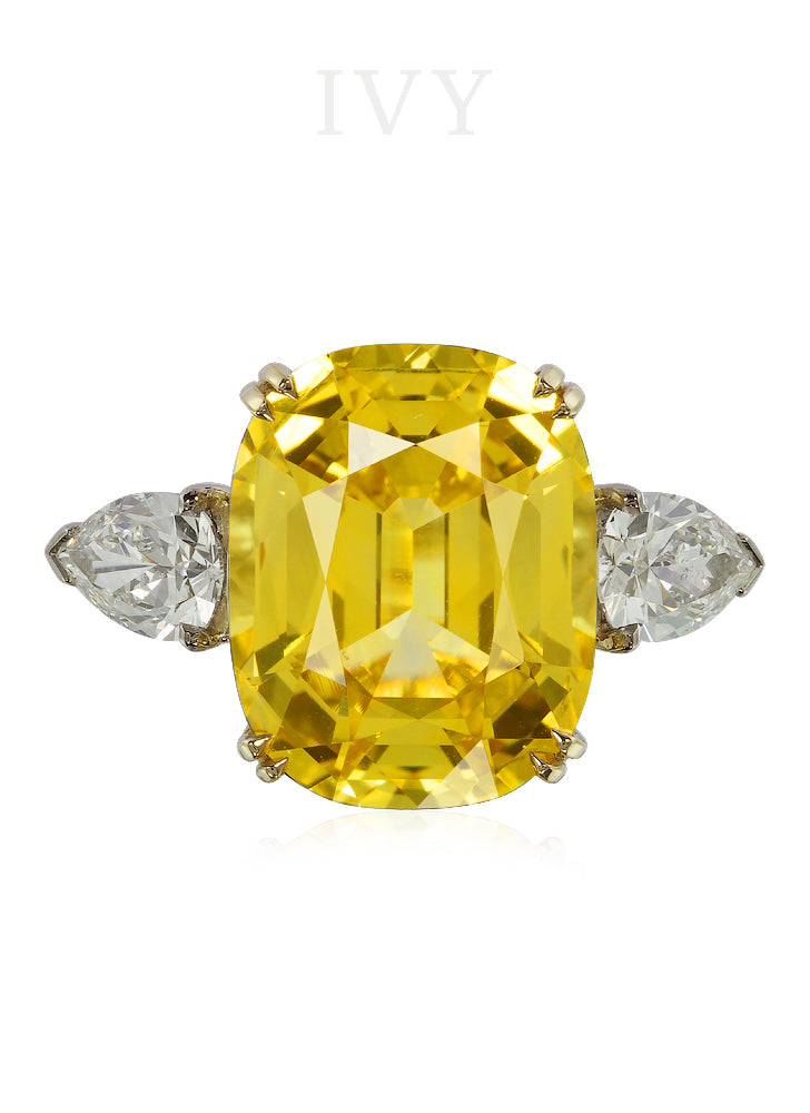 Fancy yellow pear shaped diamond ring