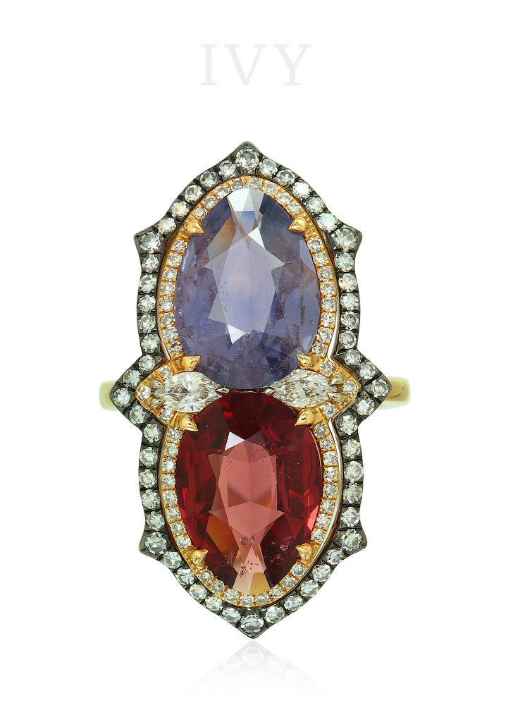 Spinel, Sapphire and Diamond Ring