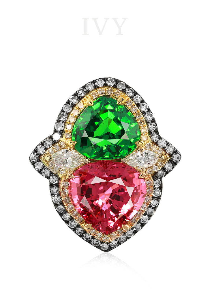 Spinel Tsavorite and Diamond Ring