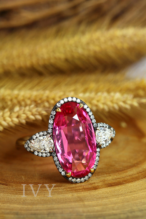 Vivid Pink Spinel Burma and Diamond Ring