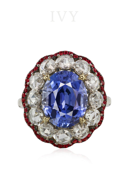 Sapphire, Ruby and Diamond Ring