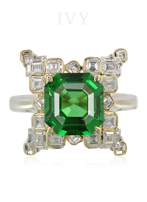Tsavorite and Diamond Wingy Ring