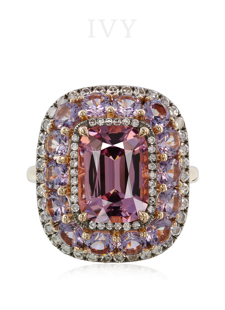 Spinel and Diamond Valencia Ring