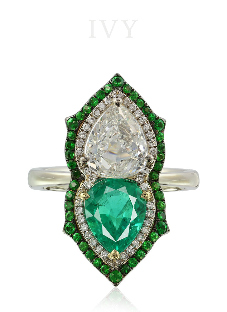 Emerald Colombia and Diamond Gemini Ring