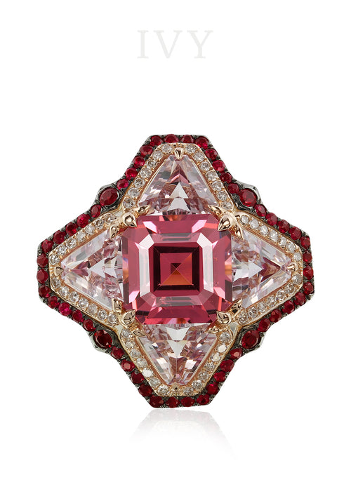 Spinel, Ruby and Diamond Ring