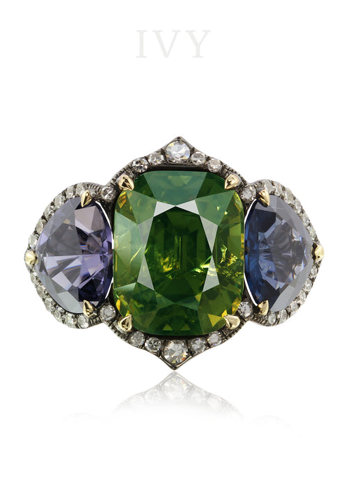 Demantoid, Spinel and Diamond Ring