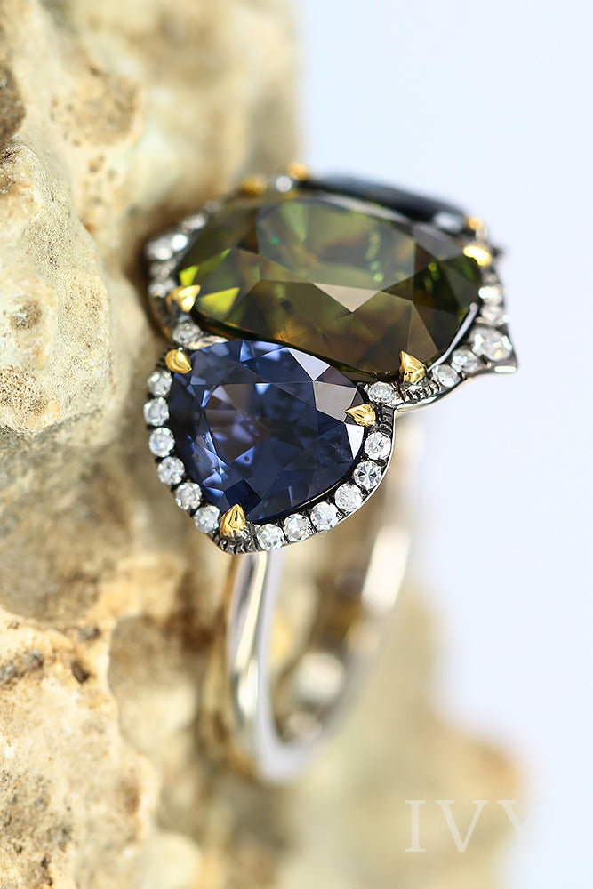 Demantoid, Blue Spinel and Diamond Ring