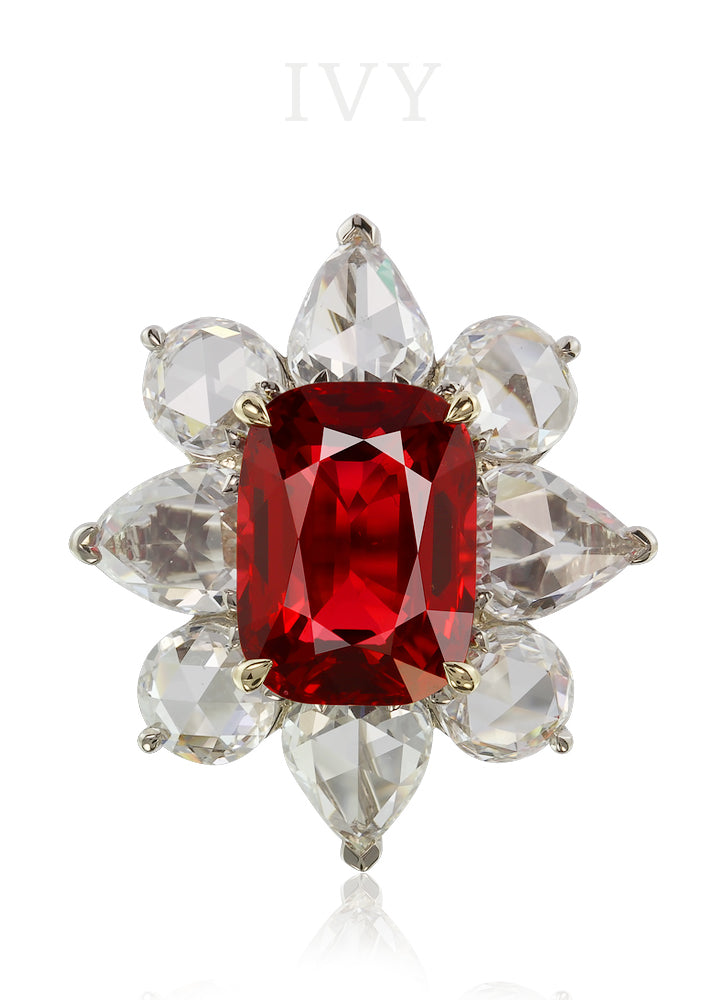 Red Spinel and Diamond Ring