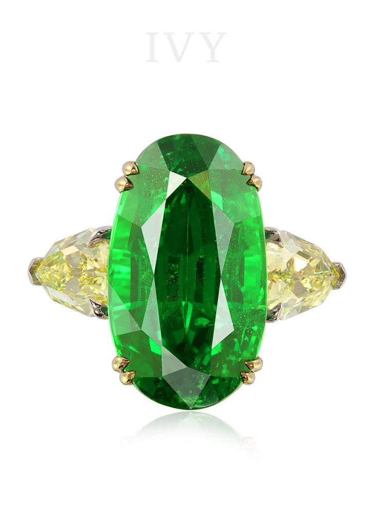 Tsavorite and Yellow Diamond Ring