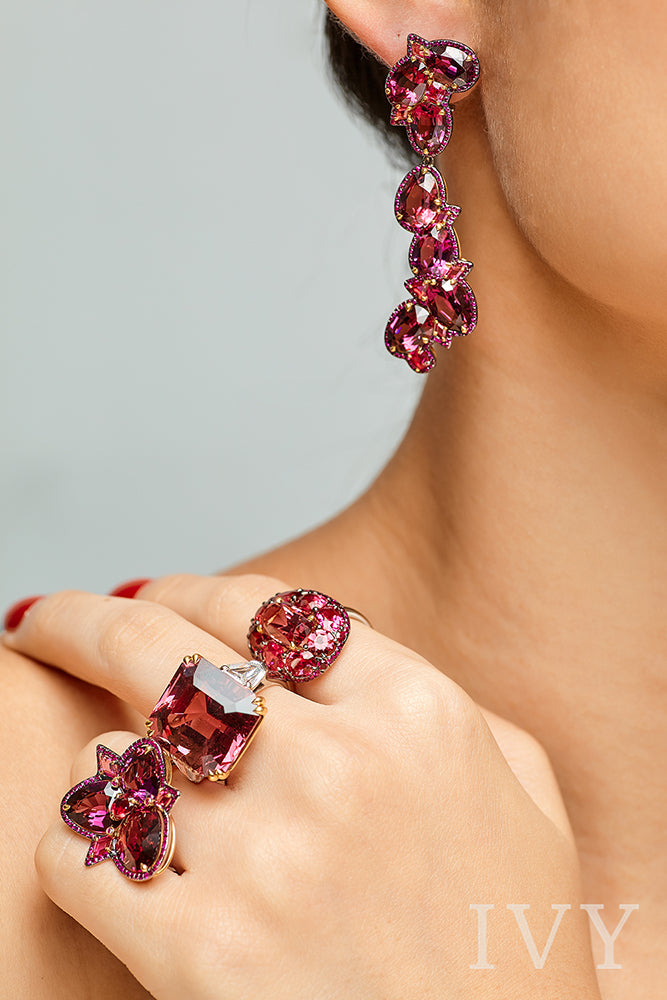 Red Spinel and Ruby Earrings