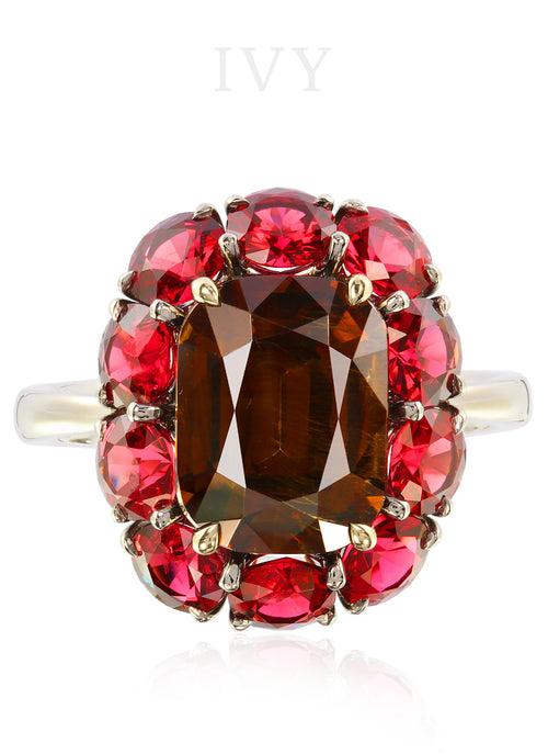 Andradite Garnet and Red Spinel Ring
