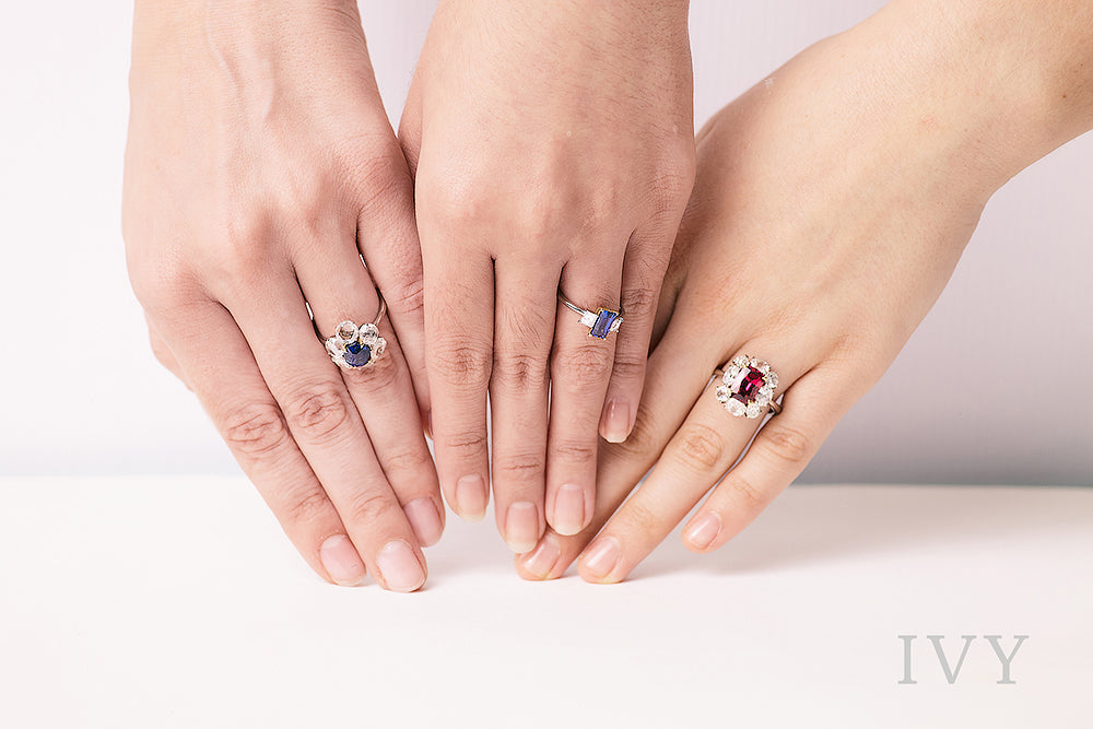 Colored gemstone and diamond rings
