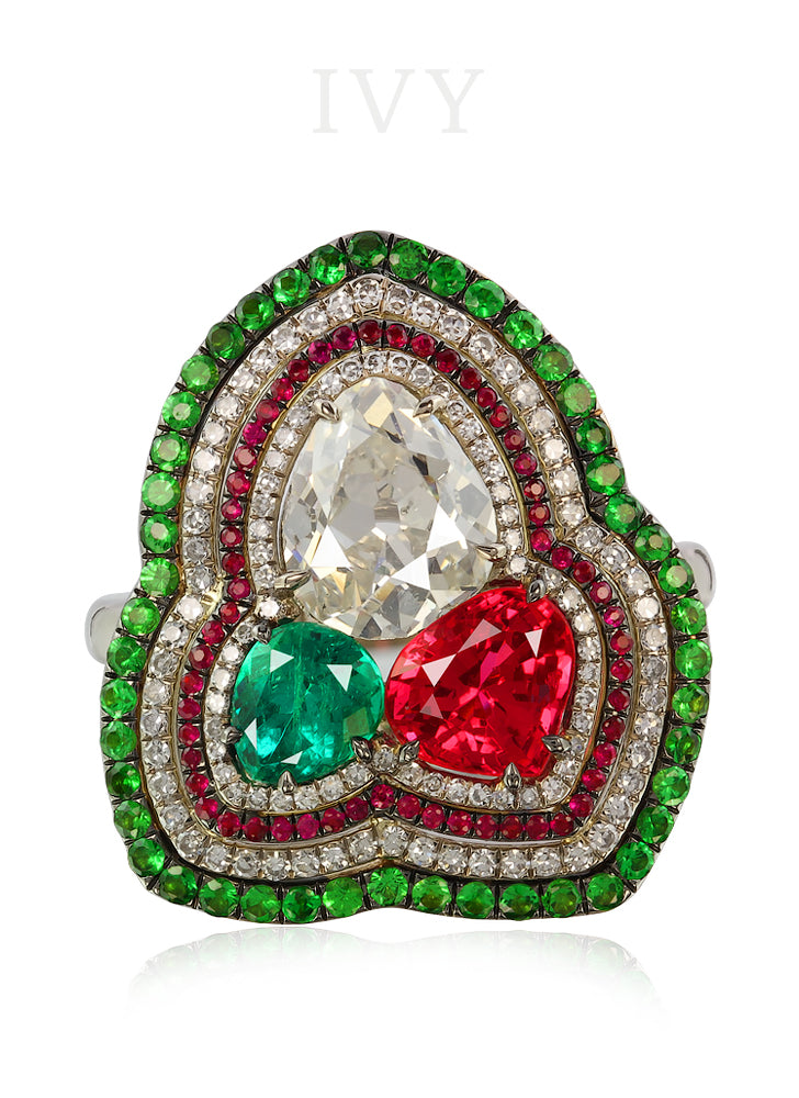 Red Spinel, Emerald, Tsavorite, Ruby and Diamond Ring