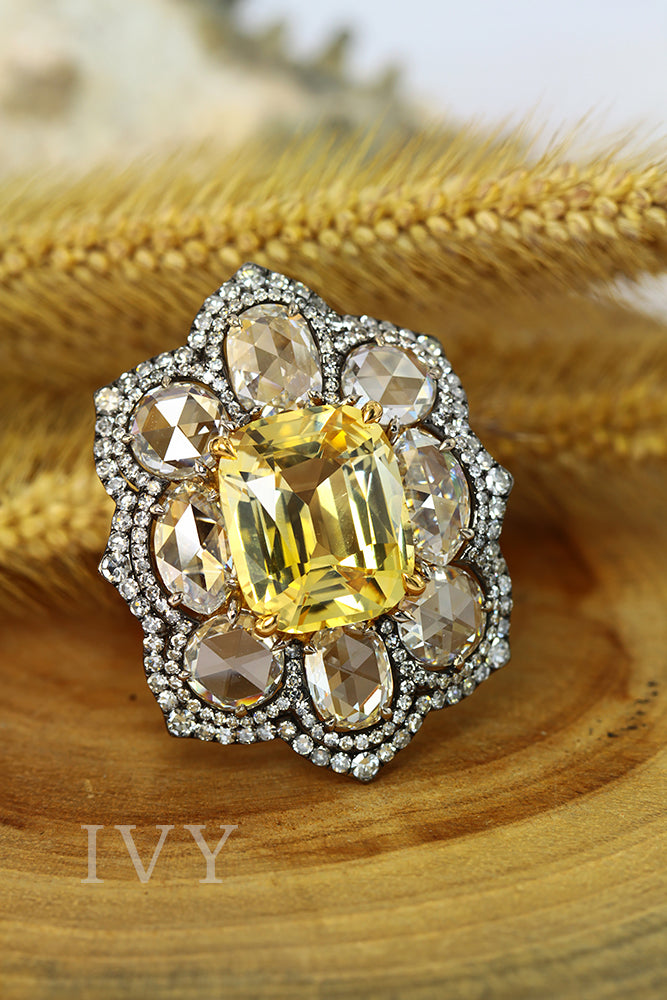 yellow sapphire ring for ladies