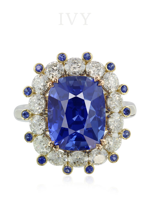 Ceylon Blue Sapphire and Diamond Crown Ring