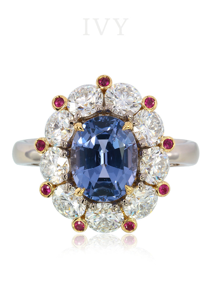 Blue Spinel and Diamond Crown Ring