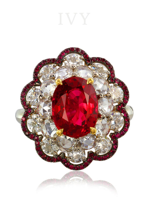 Spinel Ruby and Diamond Ring