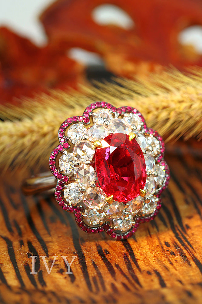 Burma Red Spinel and Ruby Ring