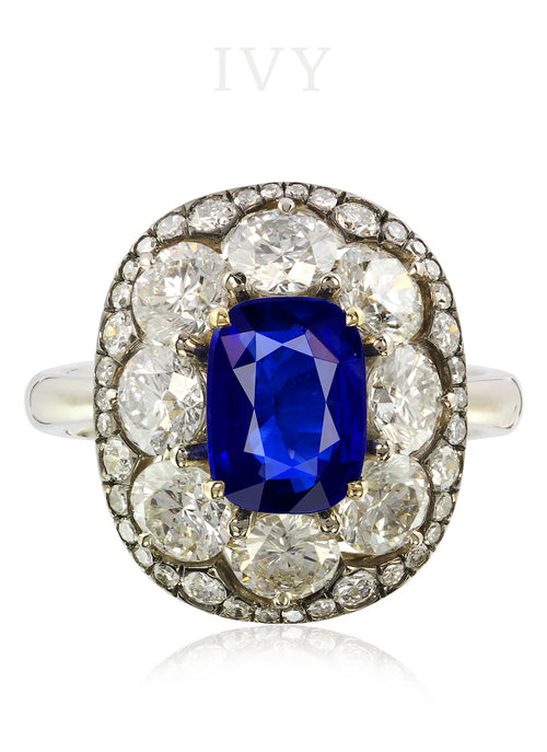 Ceylon Blue Sapphire and Diamond Ring