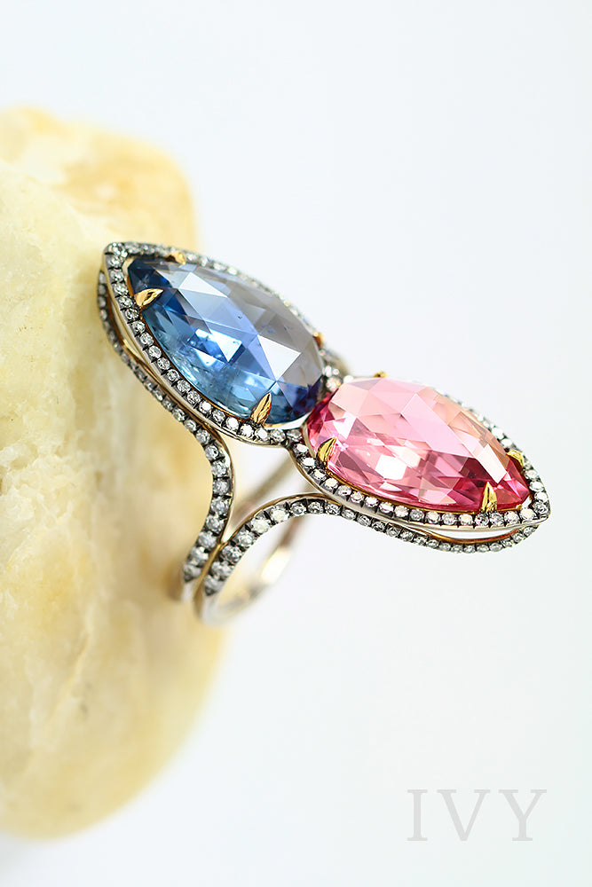 Burma Sapphire and Pink Spinel Gemini Ring