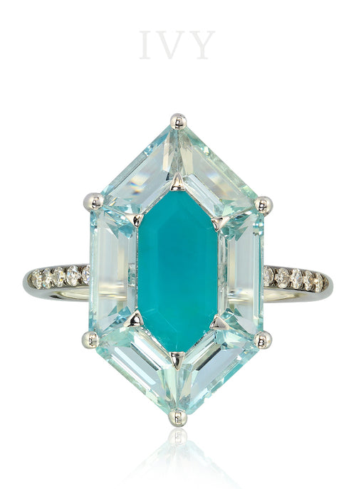 Hexagonal Ring with Chrysocolla and Aquamarines
