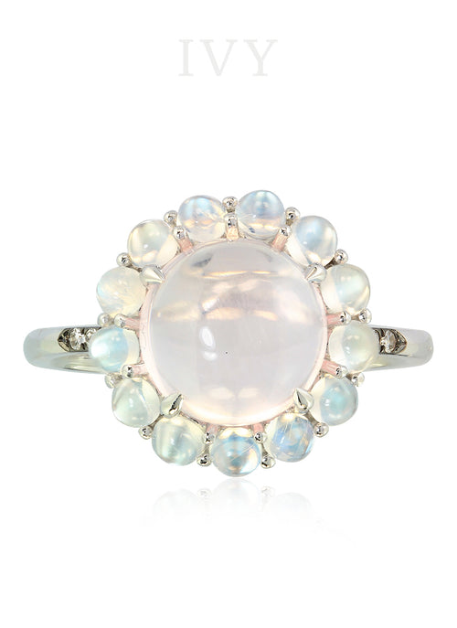 Rose Quartz, Moonstones and Diamond Ring