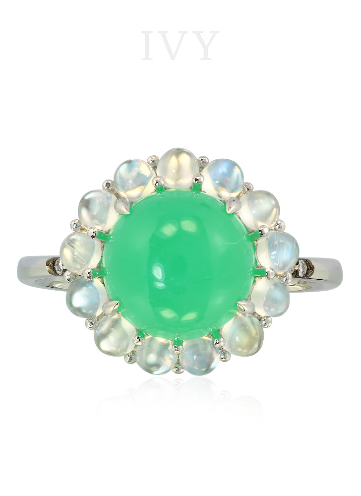 Chrysoprase, Moonstone and Diamond Ring