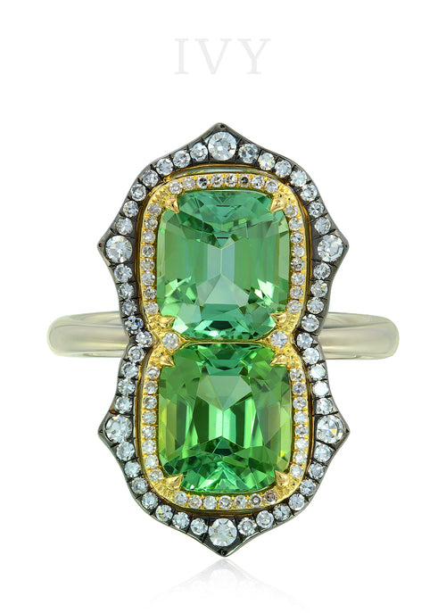 Tourmaline and Diamond Gemini Ring