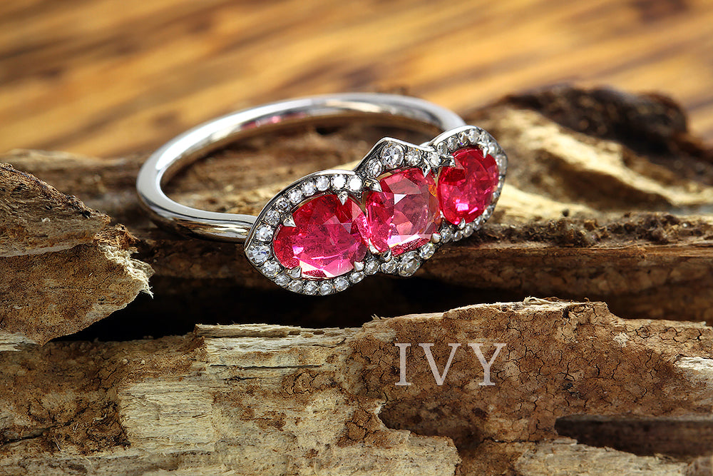 Red Spinels and diamond ring