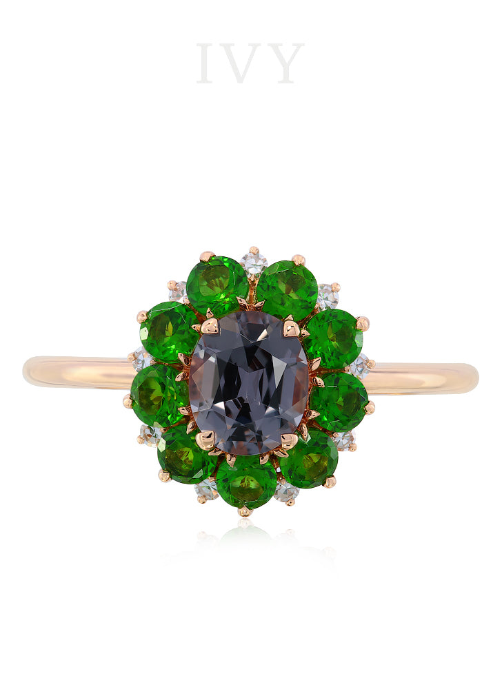 Flowerhead Ring with Spinel and Diopsides
