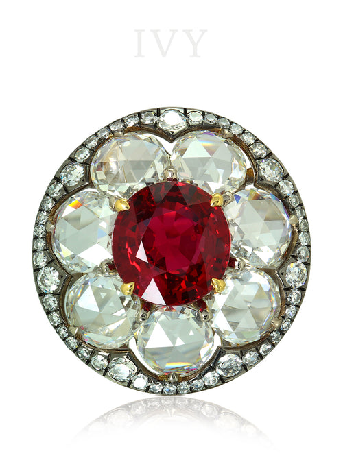 Red Spinel and Diamond Disco Ring