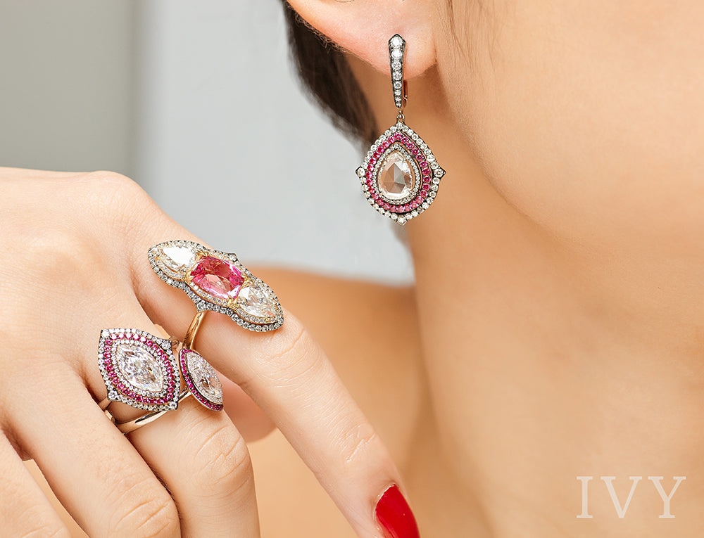 Rose-Cut Diamond and Red Spinel Earrings