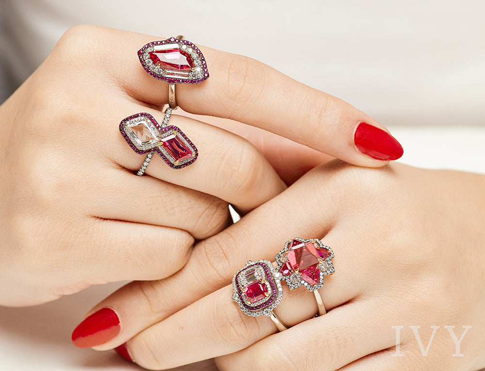 Red Spinel Burma and Diamond Ring