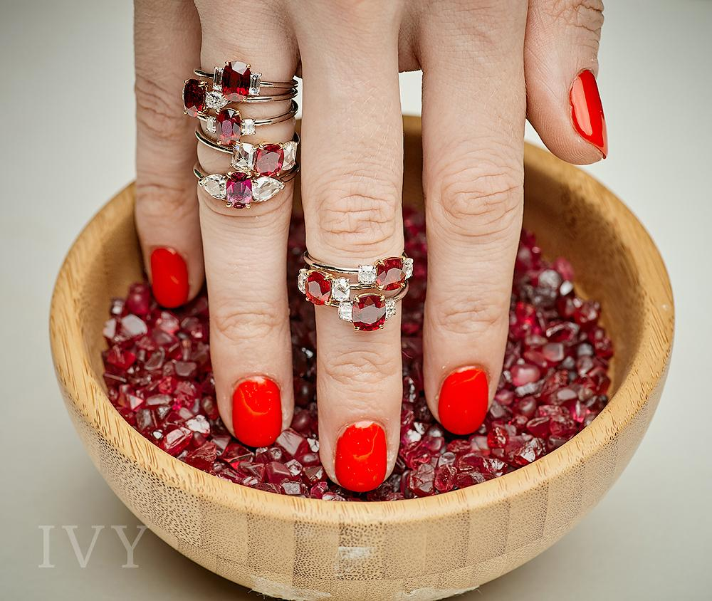 Natural Ruby and diamonds rings