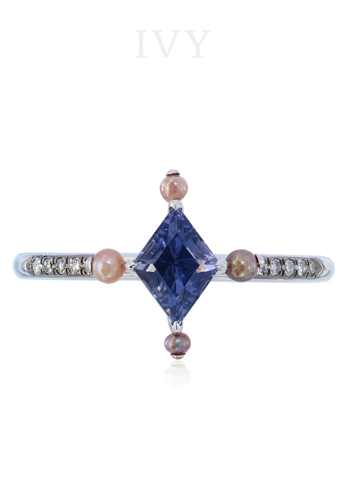 Iolite, Pearl and Diamond Ring