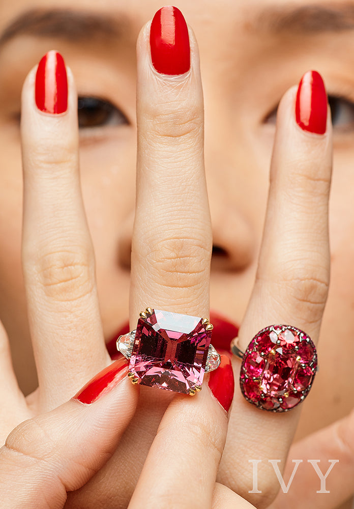 Pink Spinel and Diamond Ring