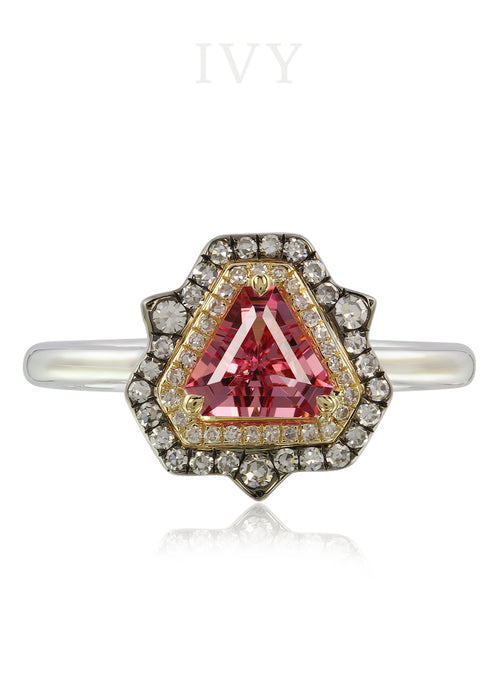 Spiky Triangle Ring with Pink Spinel and Diamond