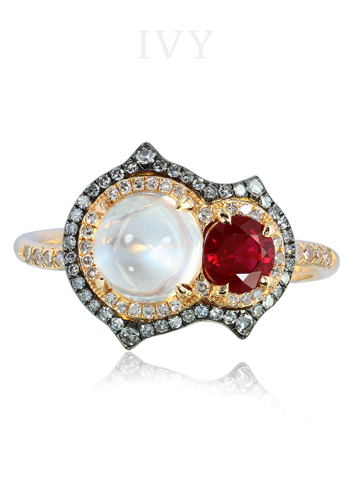 Moonstone and Ruby Pupa Ring