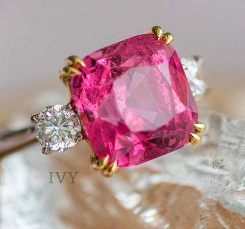 Hot Pink Spinel and Diamond Ring