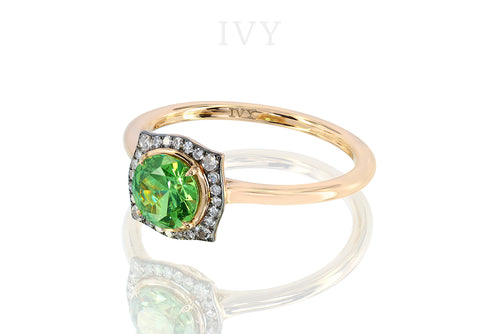 Dilated Square Ring with Demantoid and Diamond