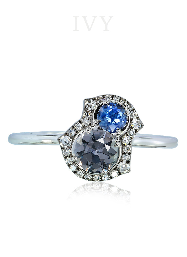 Spinel Sapphire and Diamond Ring