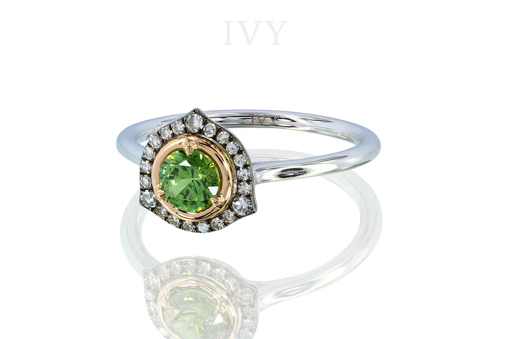 Dilated Triangle Ring with Demantoid and Diamond