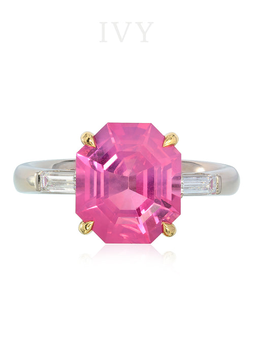 Pink Spinel Tanzania and Diamond Ring