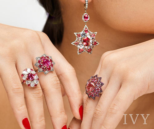 Red Spinel Burma and Diamond Star Earrings